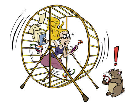 Illustration pour Running the hamster wheel out of time - image libre de droit