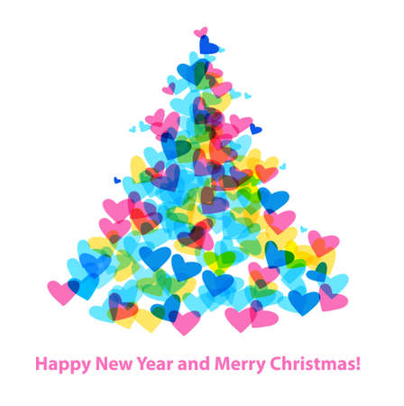 Christmas Tree of Hearts. Holiday greetings. Vector template.