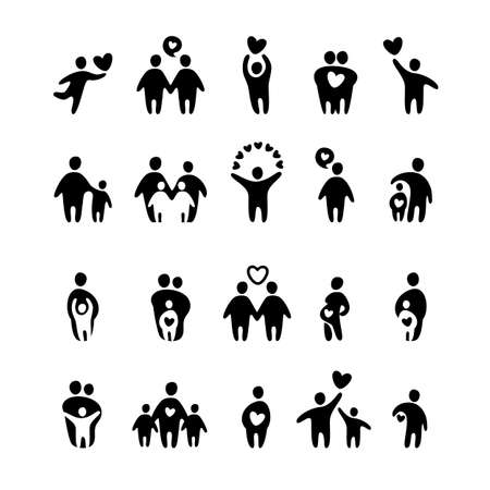 Illustrazione per family icon - vector set - Immagini Royalty Free