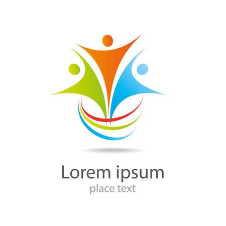 Ilustración de Design vector logo element Abstract people icon - Imagen libre de derechos