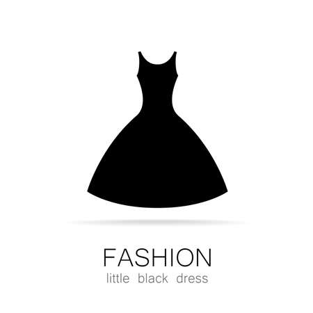 Photo pour Black dress - classic fashion. Template logo for a clothing store, women's boutique brand women's dresses. - image libre de droit