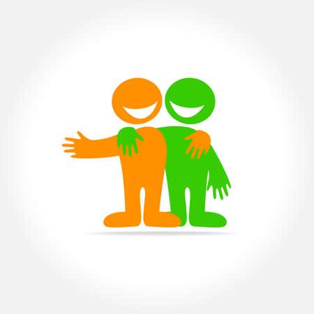 Illustration pour Friends - a sign of friendship, relationship, partnership. The idea for the social logo. - image libre de droit