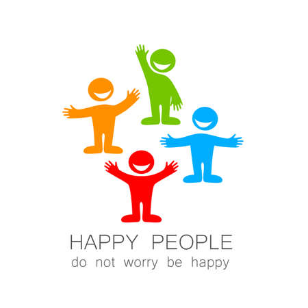 Illustration for Happy people - template mark. The idea of social logo. - Royalty Free Image