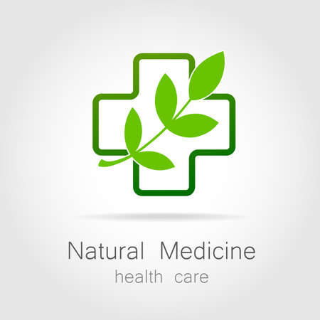 Illustration for Natural medicine - a sign of eco bio treatment. Template for logotype alternative medicine, eco medicines, bio supplements, homeopathy, etc. - Royalty Free Image