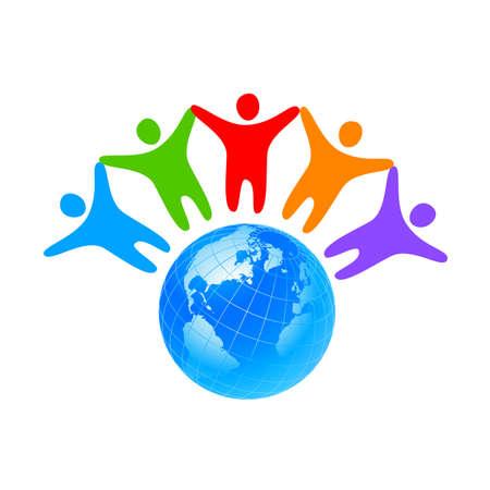 Illustration pour People around the world holding hands. Unity concept. - image libre de droit