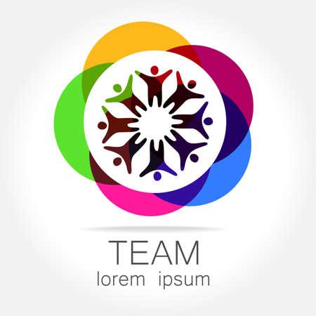 Ilustración de Team logo template. Social media marketing idea. Corporate symbol. Social network.The symbol of community and association. - Imagen libre de derechos
