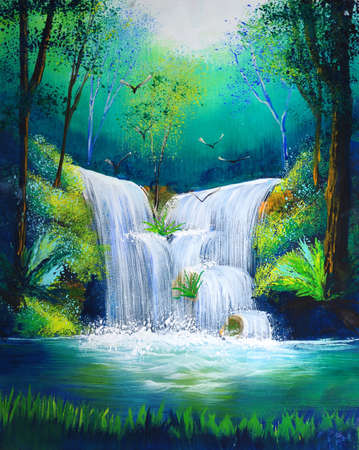 Photo pour watercolor painting of waterfall - image libre de droit