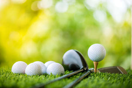 Photo for golf ball on tee ready to practice - Royalty Free Image