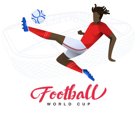 Soccer player on the stadium background Football world cup. Football player in Russia 2018. Full color vector illustration with flat style isolated and scaleable.