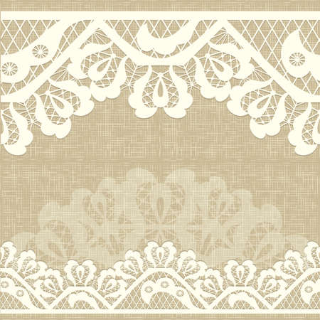 Illustration for Abstract lace ribbon seamless pattern with elements flowers. burlap canvas linen background Template frame design for card. Lace Doily. Can be used for packaging, invitations, and template.Vector lace ornament - Royalty Free Image