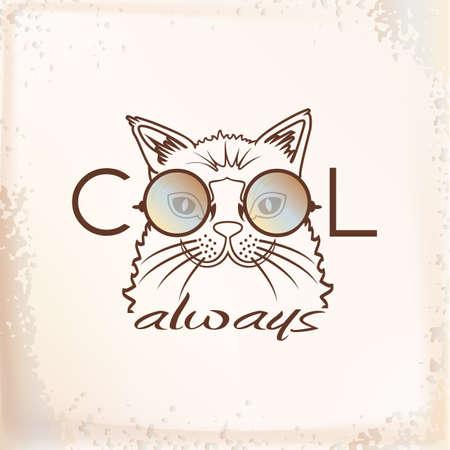 Vector Funny muzzle cat in sunglasses closeup. Cool always. portrait cool cat