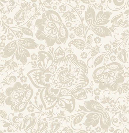 Illustration pour Vector Floral vintage rustic seamless pattern. Background can be used for wallpaper, fills, web page, surface textures. - image libre de droit