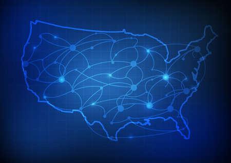 Ilustración de Vector : USA map with network line and grid blue background - Imagen libre de derechos