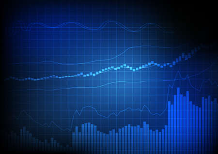 Ilustración de Vector : Business bar chart and line chart on grid blue background - Imagen libre de derechos