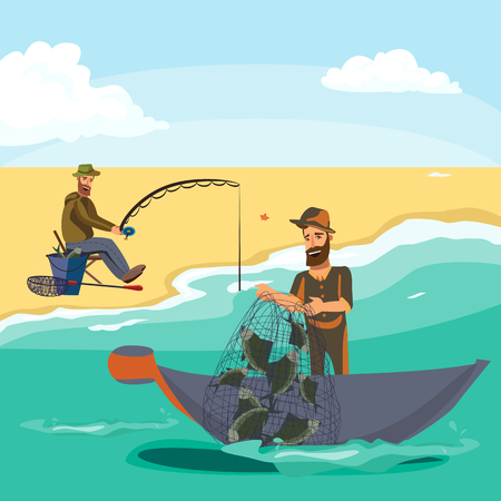 Illustration pour Cartoon fisherman standing in hat and pulls net on boat out of sea, happy fishman holds fish catch and spin vecor illustration fisher threw fishing rod into water concept, man active hobby character. - image libre de droit