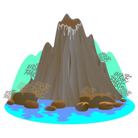 Illustration pour Sleeping volcano mountain vector illustration - image libre de droit