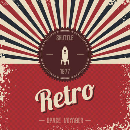 Photo for retro space rocket template theme vector art illustration - Royalty Free Image