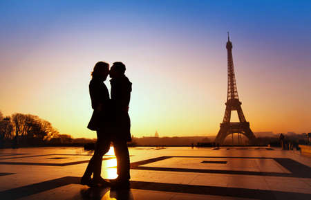 Photo for dream honeymoon in Paris, romantic couple silhouette - Royalty Free Image