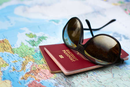 Photo pour travel concept, two passports on the map of Europe - image libre de droit