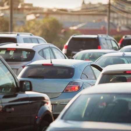 Foto de Traffic Jam in rush hour, cars on the road - Imagen libre de derechos