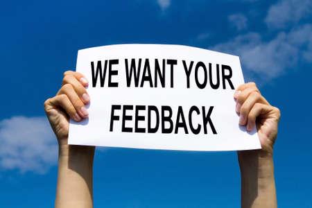 Foto de feedback concept, text with request of customer reviews and scores - Imagen libre de derechos