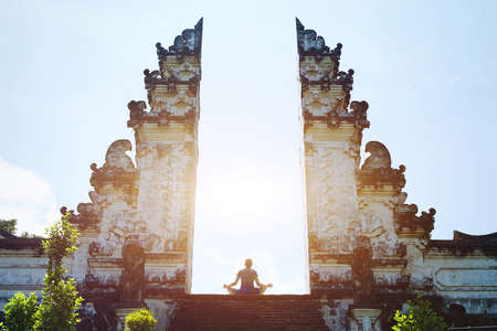 Photo for Yoga in Bali, meditation in the temple, spirituality and enlightenment - Royalty Free Image