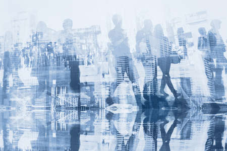 Photo for business people double exposure with reflection, abstract silhouettes of crowd, concept background - Royalty Free Image