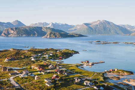 Photo pour beautiful fisherman village in Norway, stunning aerial panoramic landscape - image libre de droit