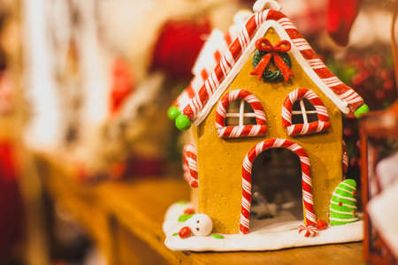 Photo for caramel candy house for christmas decoration, sweet gingerbread cookie - Royalty Free Image