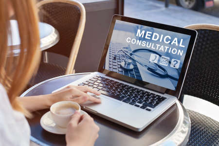 Photo for medical consultation online, doctor advice on internet - Royalty Free Image