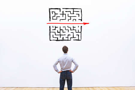 Photo for problem and solution concept, business man thinking about exit from complex labyrinth - Royalty Free Image