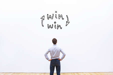 Photo for win-win concept, business man looking at win situation sign - Royalty Free Image