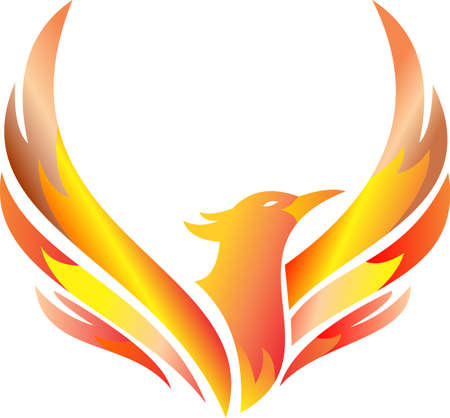 Illustration pour stock logo flaming phoenix flying - image libre de droit