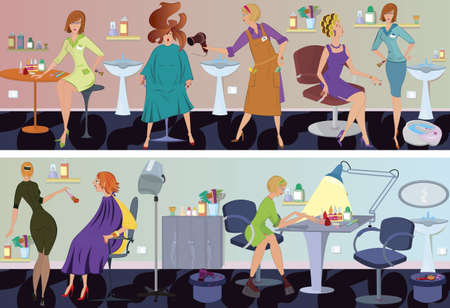 Beauty salon  workers and clients in different situations