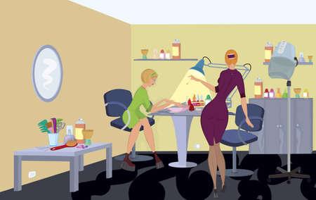 Beauty salon  client in green dress is getting manicure