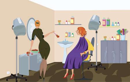 Beauty salon  worker is applying hair dye