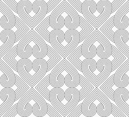 Illustration pour Slim gray hatched hearts forming rectangles.Seamless stylish geometric background. Modern abstract pattern. Flat monochrome design. - image libre de droit