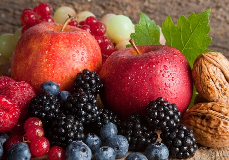 Photo for Still life for thanksgiving with autumn fruits, nuts and berries - Royalty Free Image