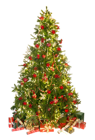 Foto de Beautiful christmas tree isolated on white with gifts and ornaments - Imagen libre de derechos