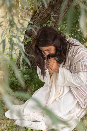 Photo for Jesus in agony praying in the garden of olives before his crucifixion - Royalty Free Image