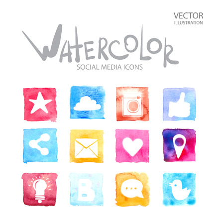 Illustration for Social media, communication in the global computer networks Watercolor set of different school things. Alphabet with numbers and symbols. - Royalty Free Image