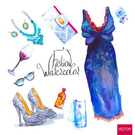 Illustrazione per Watercolor fashion illustration. set of trendy look, watercolor - Immagini Royalty Free