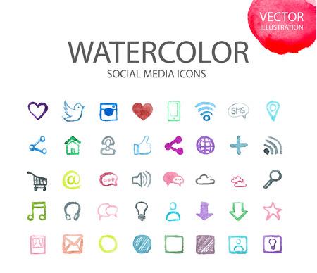 Ilustración de Social media, communication in the global computer networks Watercolor set of different school things. Alphabet with numbers and symbols. - Imagen libre de derechos