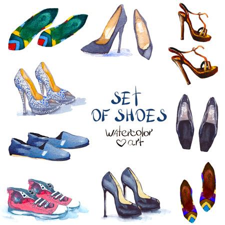 Ilustración de Fashion illustration. watercolor set shoes. fashion  design - Imagen libre de derechos