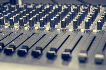 Photo for Picture of Musical amplifier Sound amplifier or Music mixer with Knobs, Jack holes and Mic connectors. - Royalty Free Image