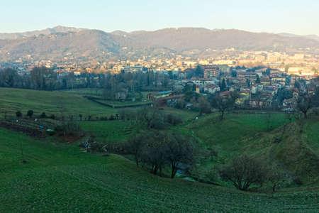 Foto de Bergamo city aerial view in Lombardy region Italy - Imagen libre de derechos