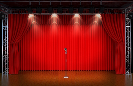 Foto de vintage microphone on Theater stage with red curtains and spotlights  Theatr ical scene in the light of searchlights, the interior of the old theater   - Imagen libre de derechos