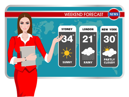 Illustration pour Vector illustration of a TV weather reporter at work - image libre de droit