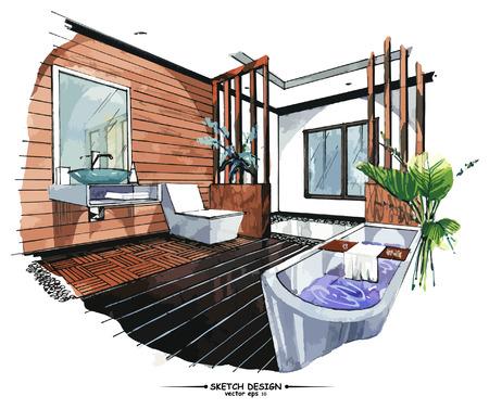 Ilustración de Vector interior sketch design. Watercolor sketching idea on white paper background - Imagen libre de derechos