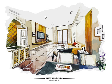 Ilustración de Vector interior sketch design. Watercolor sketching idea on white paper background - Imagen libre de derechos